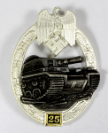 Army or Heer Panzer Tank Assault Badge for 25 Engagements.